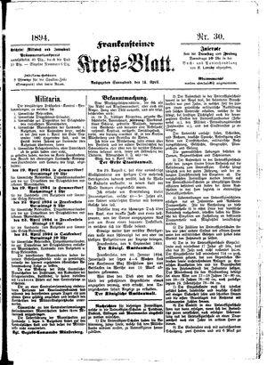 Frankensteiner Kreisblatt on Apr 14, 1894