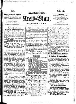 Frankensteiner Kreisblatt vom 18.04.1894