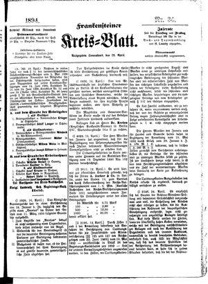 Frankensteiner Kreisblatt vom 28.04.1894