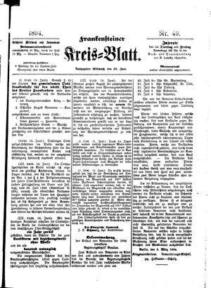 Frankensteiner Kreisblatt vom 20.06.1894