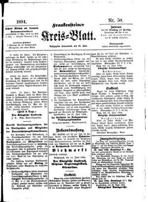 Frankensteiner Kreisblatt vom 23.06.1894