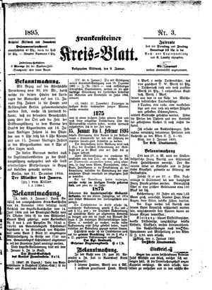 Frankensteiner Kreisblatt on Jan 9, 1895