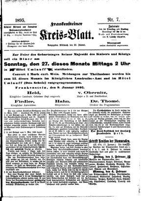 Frankensteiner Kreisblatt on Jan 23, 1895