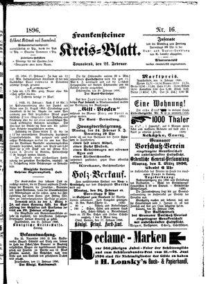 Frankensteiner Kreisblatt vom 22.02.1896