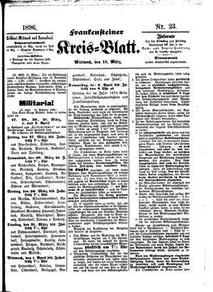Frankensteiner Kreisblatt on Mar 18, 1896