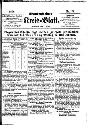 Frankensteiner Kreisblatt on Apr 1, 1896