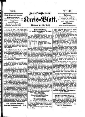 Frankensteiner Kreisblatt vom 29.04.1896