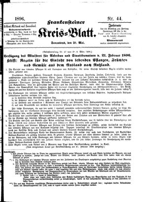 Frankensteiner Kreisblatt on May 30, 1896