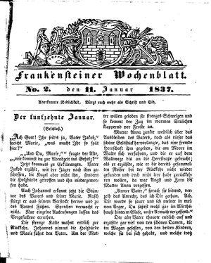 Frankensteiner Wochenblatt vom 11.01.1837