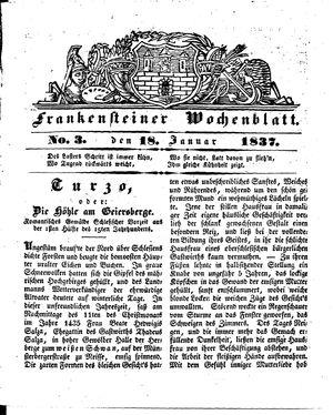 Frankensteiner Wochenblatt vom 18.01.1837