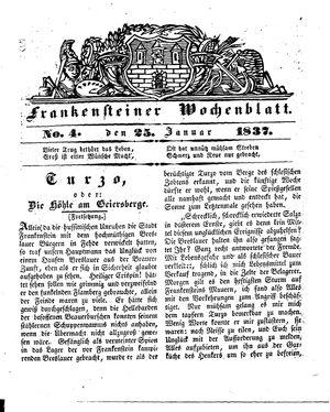 Frankensteiner Wochenblatt vom 25.01.1837