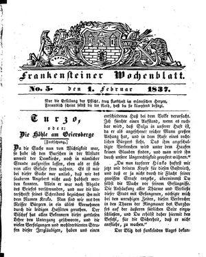 Frankensteiner Wochenblatt vom 01.02.1837