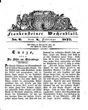 Frankensteiner Wochenblatt vom 08.02.1837