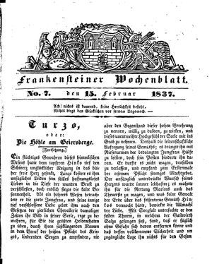 Frankensteiner Wochenblatt vom 15.02.1837