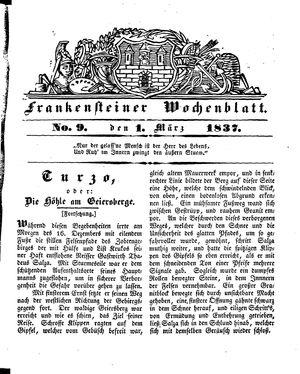 Frankensteiner Wochenblatt on Mar 1, 1837
