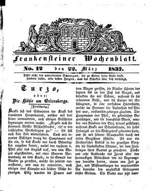 Frankensteiner Wochenblatt vom 22.03.1837