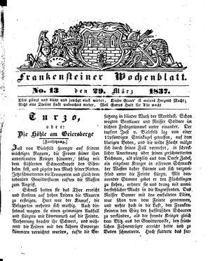 Frankensteiner Wochenblatt on Mar 29, 1837