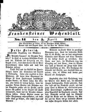 Frankensteiner Wochenblatt on Apr 5, 1837