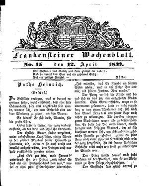 Frankensteiner Wochenblatt vom 12.04.1837
