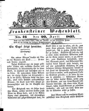 Frankensteiner Wochenblatt vom 20.04.1837
