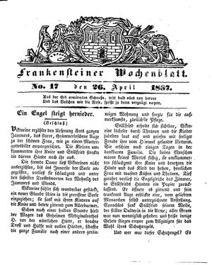 Frankensteiner Wochenblatt on Apr 26, 1837