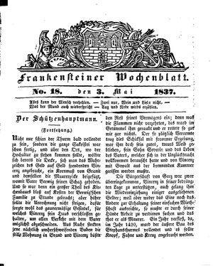 Frankensteiner Wochenblatt vom 03.05.1837