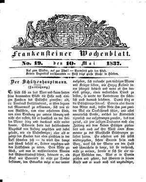 Frankensteiner Wochenblatt vom 10.05.1837