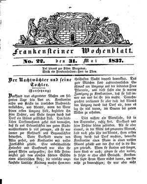 Frankensteiner Wochenblatt vom 31.05.1837