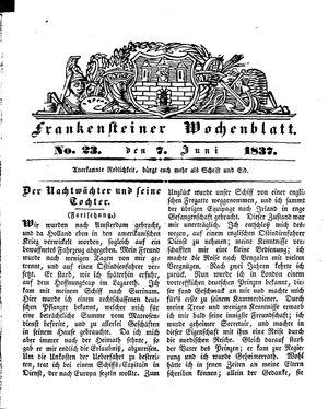 Frankensteiner Wochenblatt vom 07.06.1837