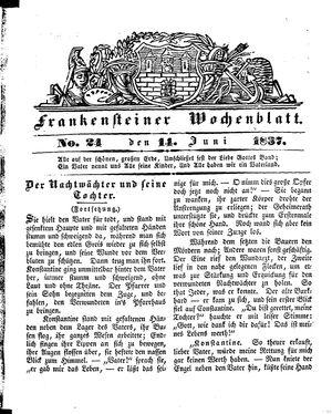 Frankensteiner Wochenblatt vom 14.06.1837