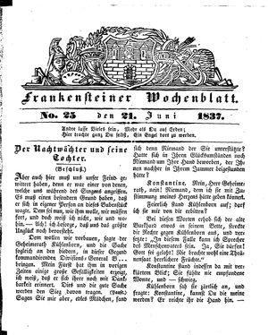 Frankensteiner Wochenblatt vom 21.06.1837