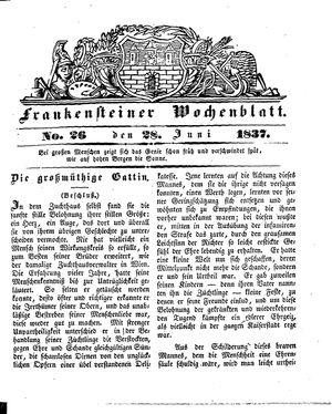 Frankensteiner Wochenblatt vom 28.06.1837