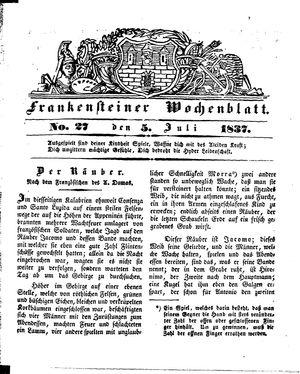 Frankensteiner Wochenblatt vom 05.07.1837