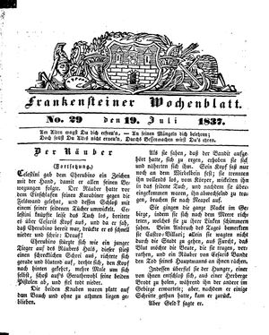Frankensteiner Wochenblatt vom 19.07.1837