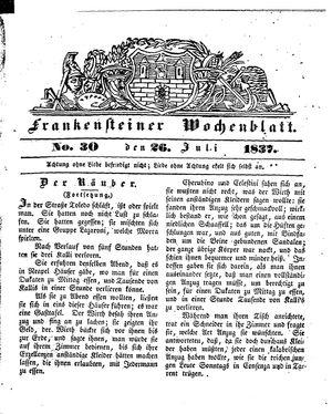 Frankensteiner Wochenblatt vom 26.07.1837