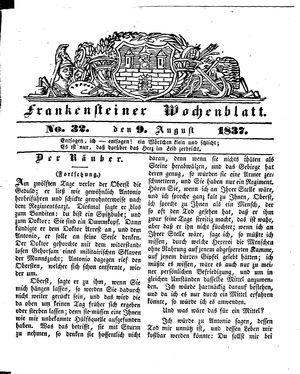 Frankensteiner Wochenblatt vom 09.08.1837