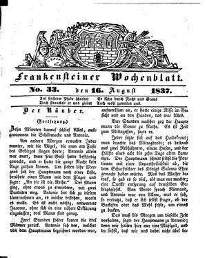 Frankensteiner Wochenblatt vom 16.08.1837