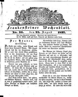 Frankensteiner Wochenblatt vom 23.08.1837