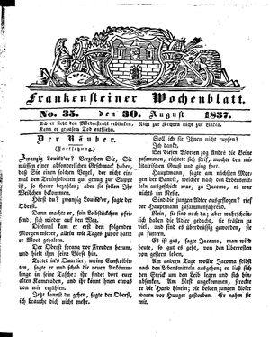 Frankensteiner Wochenblatt vom 30.08.1837
