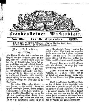 Frankensteiner Wochenblatt vom 06.09.1837