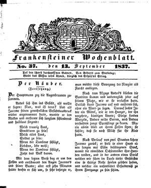 Frankensteiner Wochenblatt vom 13.09.1837
