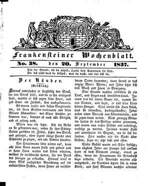 Frankensteiner Wochenblatt vom 20.09.1837