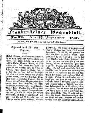 Frankensteiner Wochenblatt vom 27.09.1837