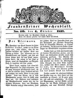 Frankensteiner Wochenblatt vom 04.10.1837