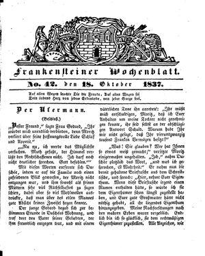 Frankensteiner Wochenblatt on Oct 18, 1837