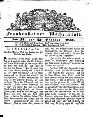 Frankensteiner Wochenblatt vom 25.10.1837