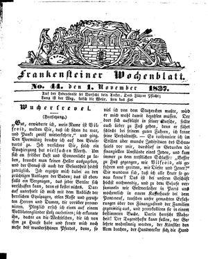 Frankensteiner Wochenblatt vom 01.11.1837
