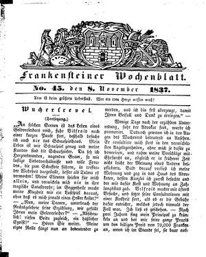 Frankensteiner Wochenblatt vom 08.11.1837
