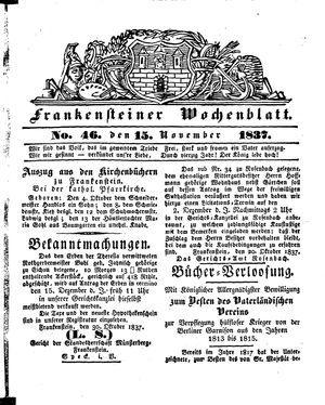 Frankensteiner Wochenblatt vom 15.11.1837
