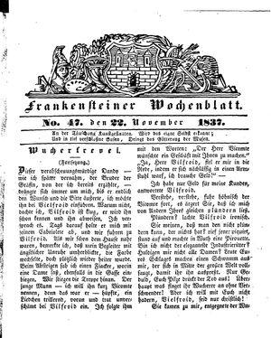 Frankensteiner Wochenblatt vom 22.11.1837